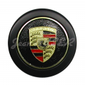 Wheel hub cap (black with Porsche emblem and lacquered finish) with ringed fastened for 911 (74-89)