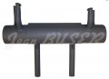 Steel exhaust muffler with dual exhaust pipes, 356 (50-55) + 356 A T-1- (56-57)